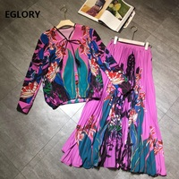 High Quality Designer Clothing Sets 2020 Autumn Long Skirt Suits Women V Neck Bohemian Print Long Sleeve Tops+Pleated Long Skirt
