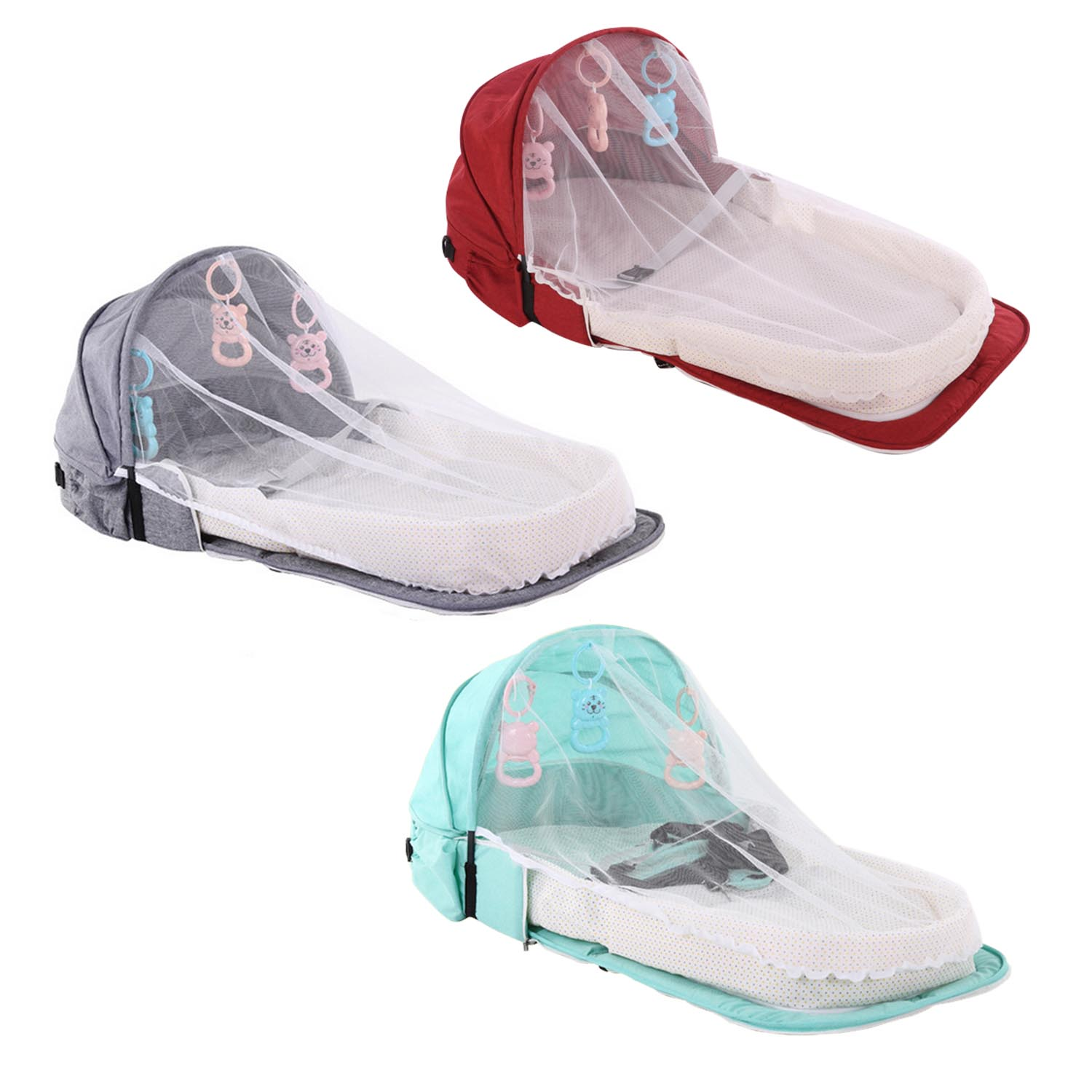 Portable Foldable Baby Sleeping Bed Crib Basket With Toys Mosquito Net For 0-1 Years Old Infants Home Travel Breathable Baby Bed