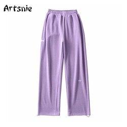 Artsnie High Waist Wide Leg Pants Women Winter Knitted Purple Trousers Streetwear Casual Spring 2021 Long Pants Sweatpants Femme