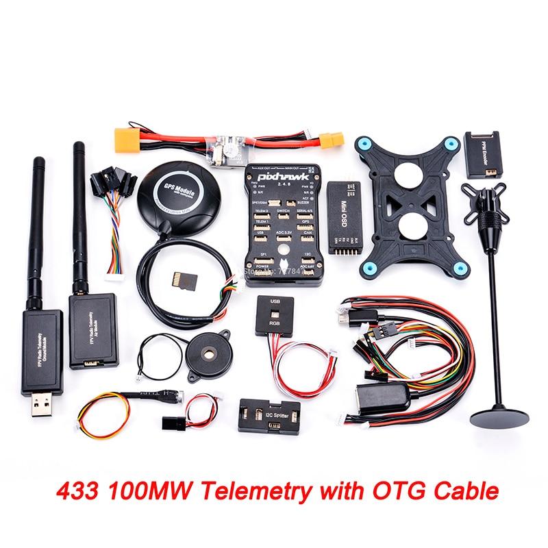 Pixhawk px4 PIX 2.4.8 32 бит Игровые Джойстики+ 433/915 телеметрии+ m8n GPS+ minim OSD+ pm+ Детская безопасность выключатель+ зуммер+ RGB+ стр./мин+ I2C+ 16 г SD - Цвет: 433 100mw OTG Telem