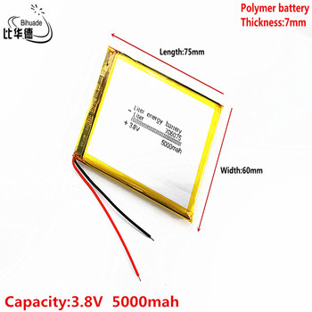 3.8V,5000mAH 706075 Liter energy battery Polymer lithium ion / Li-ion battery for tablet pc BANK,GPS,mp3,mp4 image