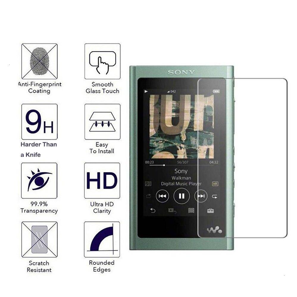 2 pacote de filme protetor de tela de vidro temperado para sony walkman NW-A55 a55 a50 a56 a57 a56hn a57hn mp3 player claro risco vidro