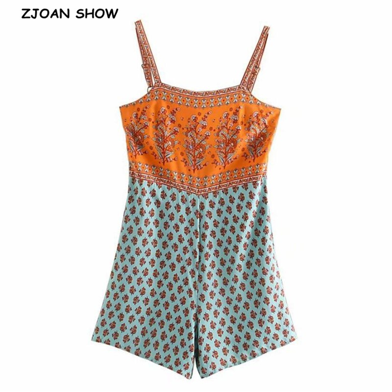 Verão gola quadrada paisley floral impressão bodysuits boho feminino voltar elástico calças curtas macacão cinta de espaguete macacão