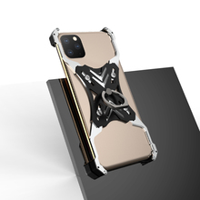 All-Metal Mobile Shell Bumper Case For Apple iPhone 11 Pro Max Hard Cover Cool Shockproof With Finger Ring KickStand