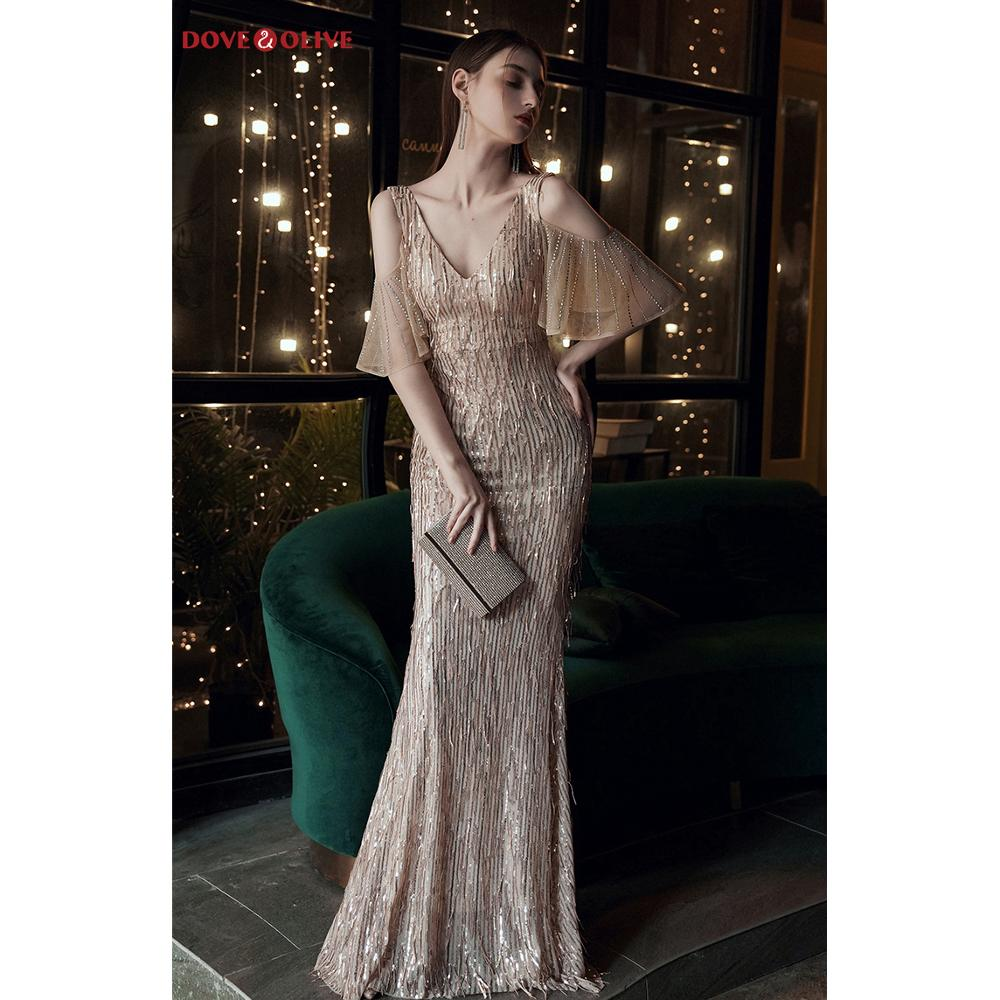 Gold Evening Dresses Sequined Long Mermaid Off Shoulder Half Sleeve Sparkle Bling Prom Gowns Floor Length White Formal Party