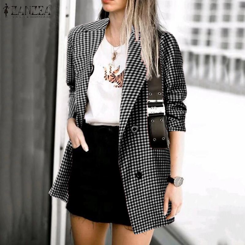 ZANZEA 2020 Fashion Office Lady Blazers Women Plaid Check Blazer Casual Pockets Blazer Feminino Lapel Buttons Chaqueta Mujer 5XL