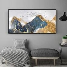 Золотые Горные Птицы Абстрактная Картина на холсте настенные