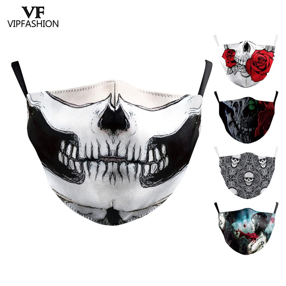 VIP FASHION Adult Skull Head Printed 3D Ghost Rose Face Mask Reusable Washable Protective Mouth Mask Anti Flu Bacteria Masks