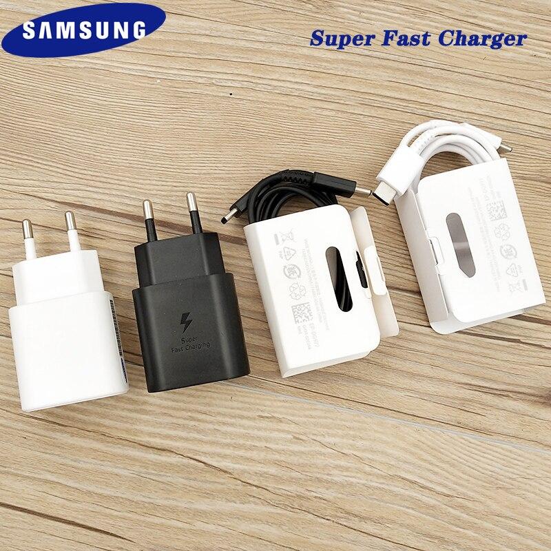 Оригинальное сверхбыстрое зарядное устройство для Samsung S20 Plus, 25 Вт, адаптер для быстрой зарядки, кабель типа C на Type C для Galaxy S20 + Note 10 Plus, A71