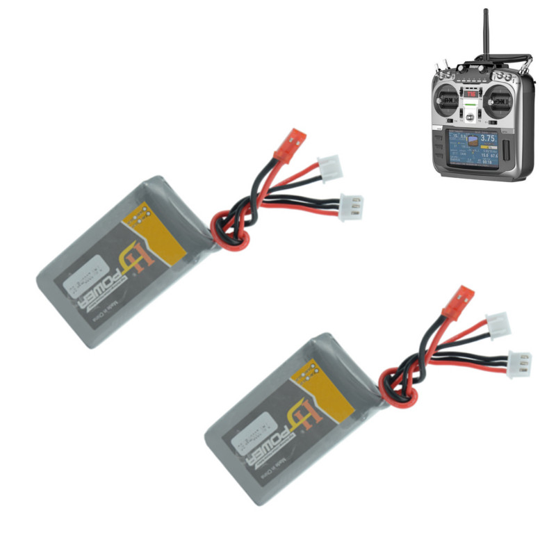 2PCS HJ Power <font><b>2S</b></font> 7.4V <font><b>2000MAH</b></font> 8C <font><b>Lipo</b></font> Battery for Jumper T16 Open Source Multi-protocol Radio Transmitter Remote Controller image