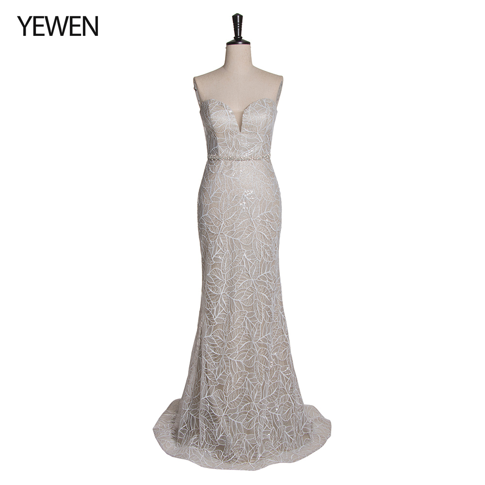 Silver Evening Dress Long Lace Sparkle 2019 New Sweetheart Women Elegant Sequin Mermaid Formal Dresses Party Gowns 2019