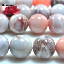 Mamiam Natural Pink Botswana Agate Beads 4-14mm Smooth Round Loose Stone Bracelet Necklace Diy Jewelry Making Gemstone Design