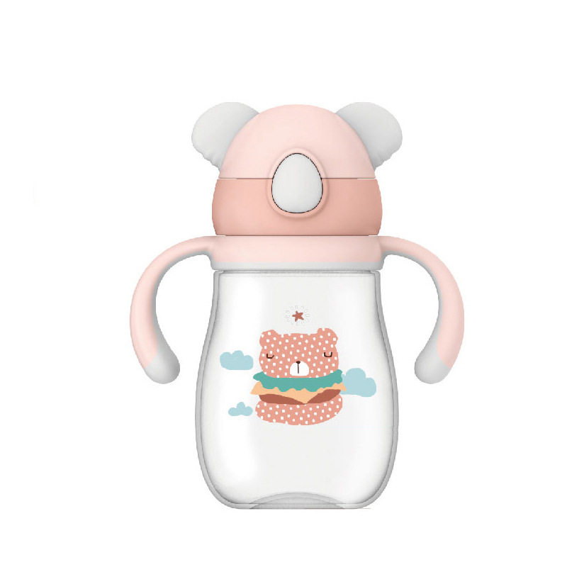 Wei Lun Seoul Infant Sippy Cup Baby Nursery Shatter-resistant Anti Choking Leakage Handle Gravity Ball Children Straw Cup