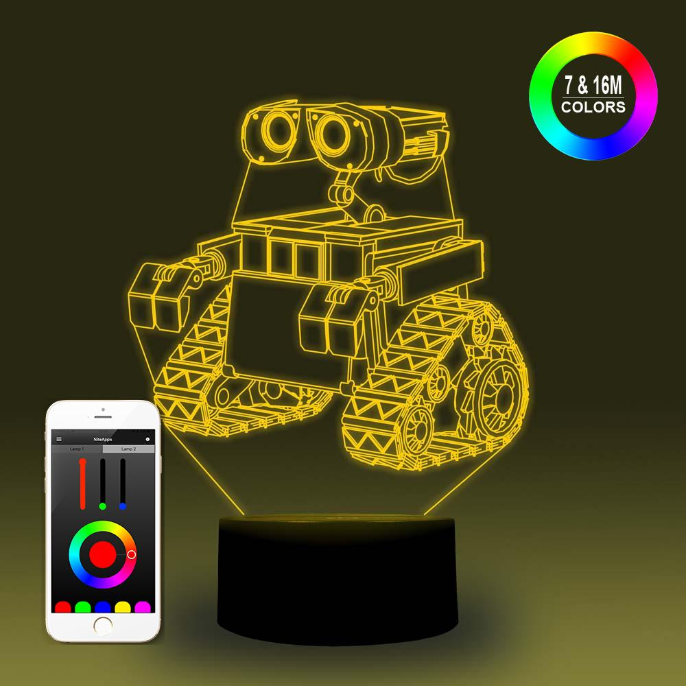 NiteApps 3D Wall-e Night Light Desk Table Illusion Decoration Lamp Holiday Birthday Gift APP/Touch Control