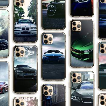 Blue Red Car For Bmw Phone Case Clear Cover For Iphone 5 6 7 8 11 12 Plus XR X XS SE2020 11/12PRO Max Transparent Cases image