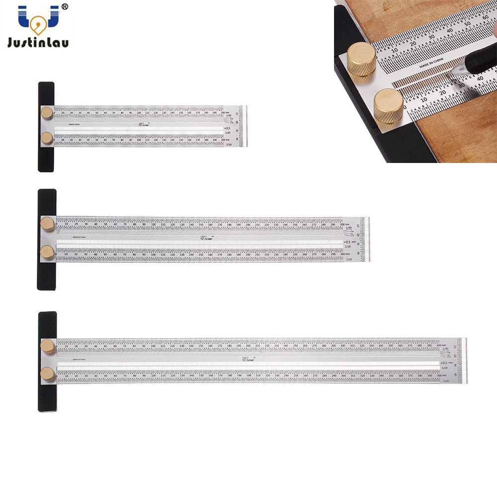 200/300/400mm Stainless Steel Precision Marking T Ruler Hole Positioning Measuring Ruler Woodworking Scriber Scribing Tools