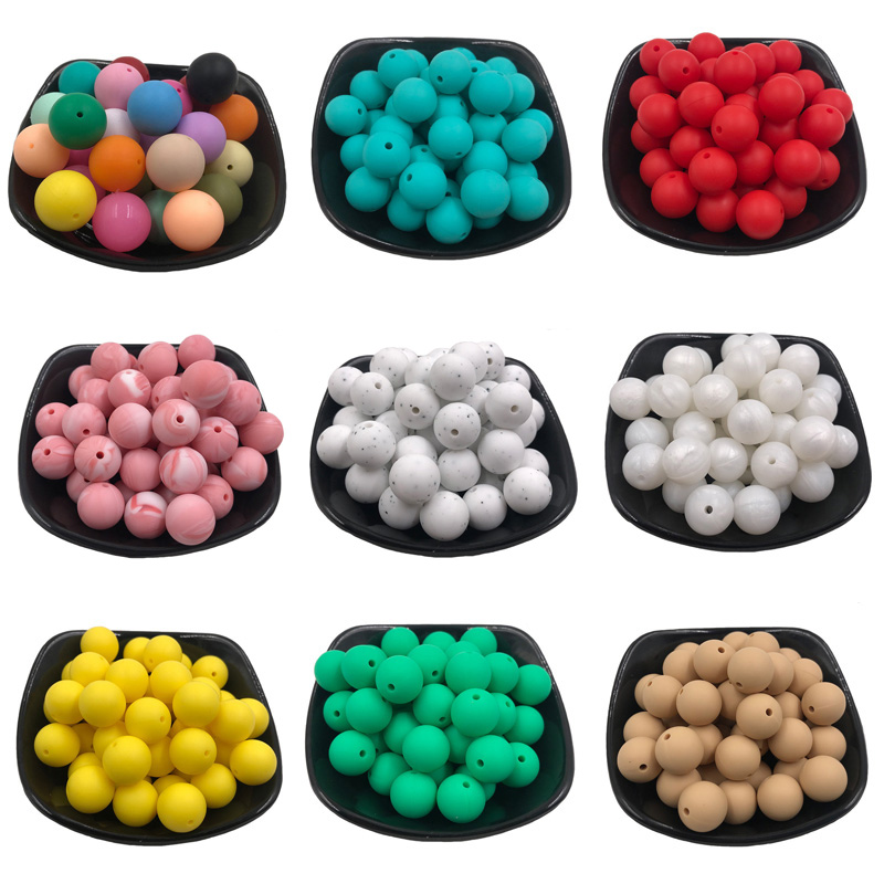 20Pcs 9mm Silicone Round Beads Food Grade Baby Teething Beads Round Products Chews Pacifier Chain Clips Beads Baby Teethers Toys