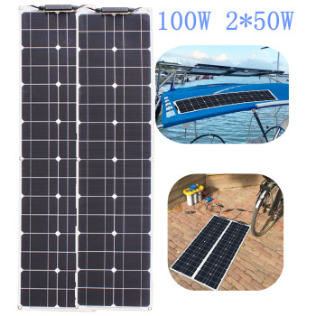 Panel Solar Flexible, batería Solar de marca, 50W, 12V, 100w, para pesca, barco, cabina, Camping 2