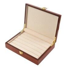 Caja de exhibición de madera Vintage, joyería para Exhibidor de anillos, pendientes, gemelos