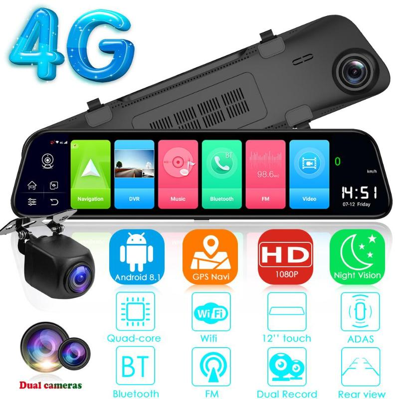 12 Inch Android 8.1 Car DVRs Camera GPS Navi Bluetooth FHD Mirror Recorder Compatible with more Apps 4G Wifi ADAS <font><b>Dash</b></font> <font><b>cam</b></font> <font><b>2019</b></font> image