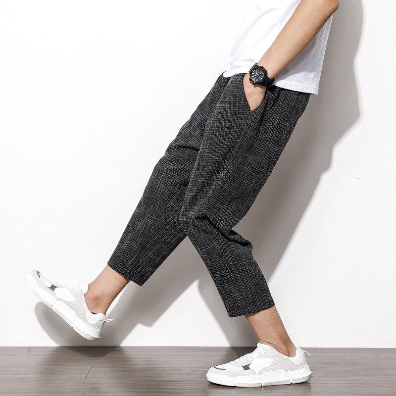 Japanese Style Large Size Cotton Linen Capri Pants Harem Pants Casual Pants Loose Baggy Pants Harem Pants Men's