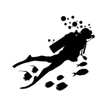 Etiquetas personalizadas do carro dos peixes do decalque da aventura do mergulho do mundo marinho do divertimento protetor solar impermeável preto/branco, 18cm * 16cm