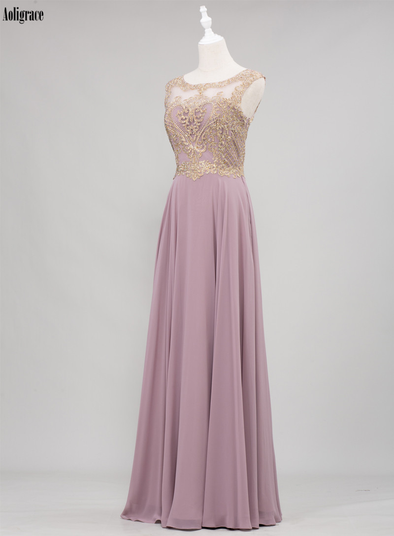Crystal Scoop Gold Lace Appliques Sleeveless Chiffon Bridesmaid Dress 1