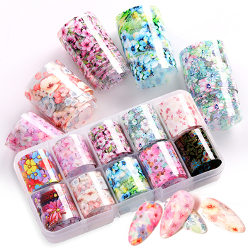 10 Design/set Butterfly Nail Foil Stickers Flower Leaf Tree Summer Mix Florals Transfer Decals Nail Art Accessories