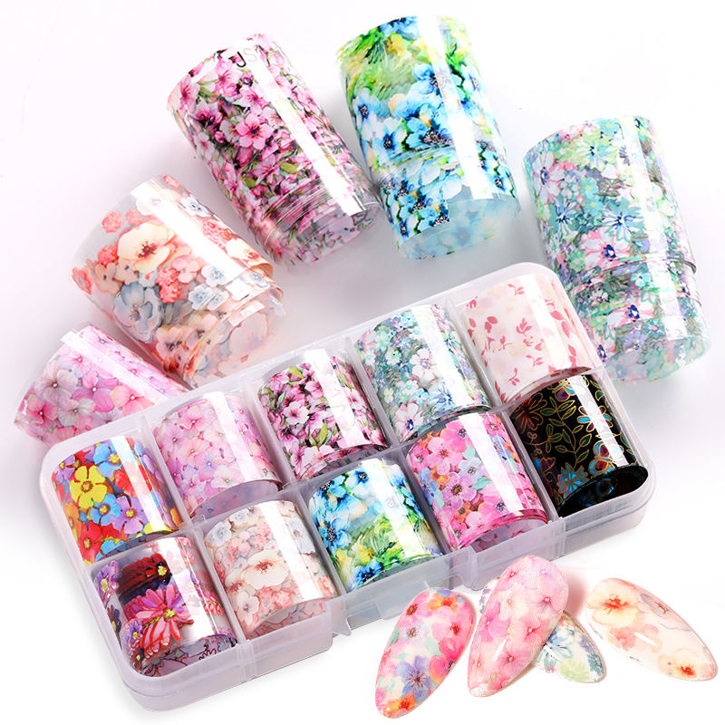 Nail Foils Set Flowers Butterflies Stickers Pink Spring Transfer Stickers Decals Paper Marble Design Tips Nail Art Decorations