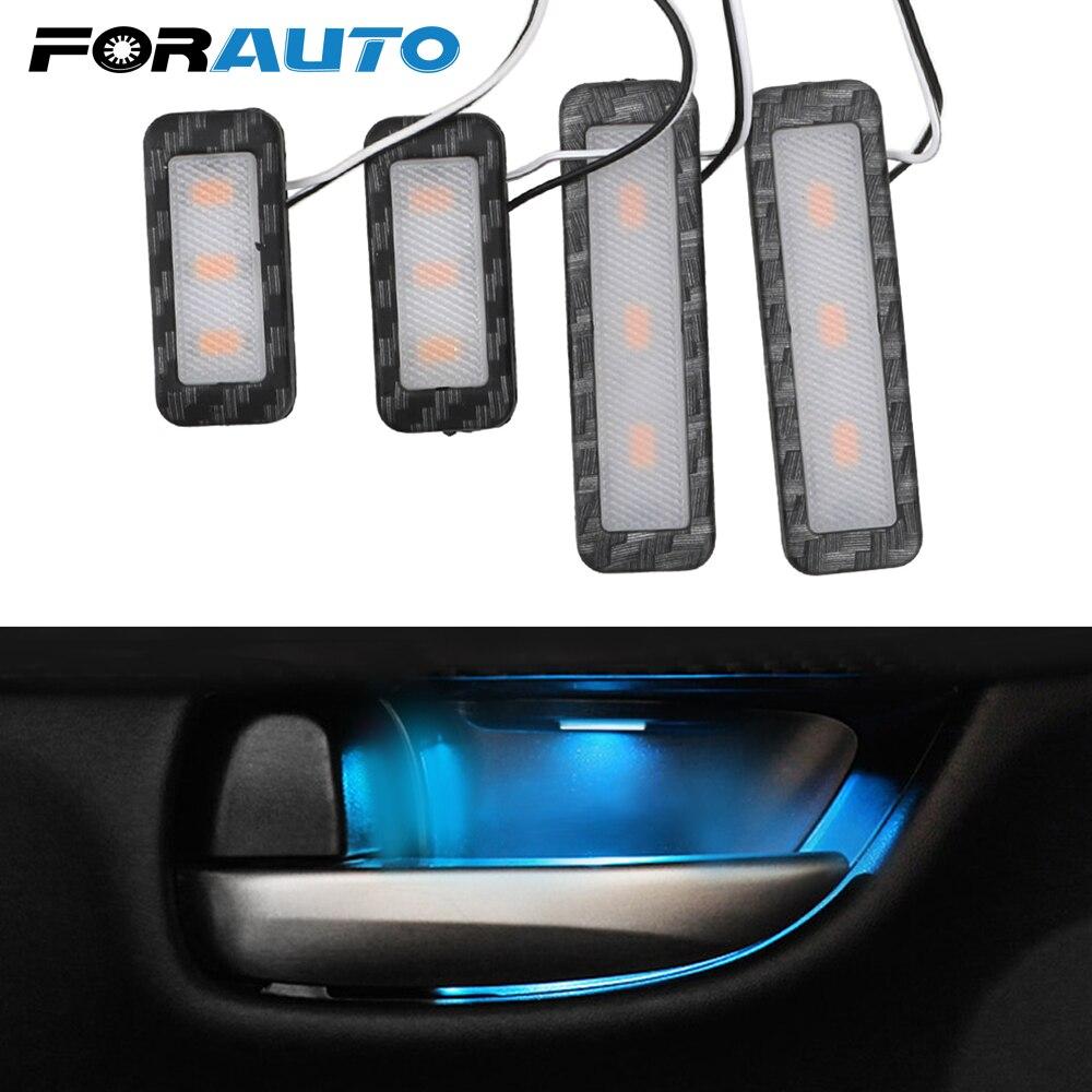 FORAUTP 4Pcs/set LED Car Inner Bowl Light Armrest Interior Door Handle Lighting Universal Auto Atmosphere Lamp Decorative Lights