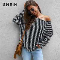 SHEIN Striped Print Asymmetrische Neck Übergroßen T Shirt Frauen Tops Tropfen Schulter Herbst Langarm Lose Casual Tee Tops