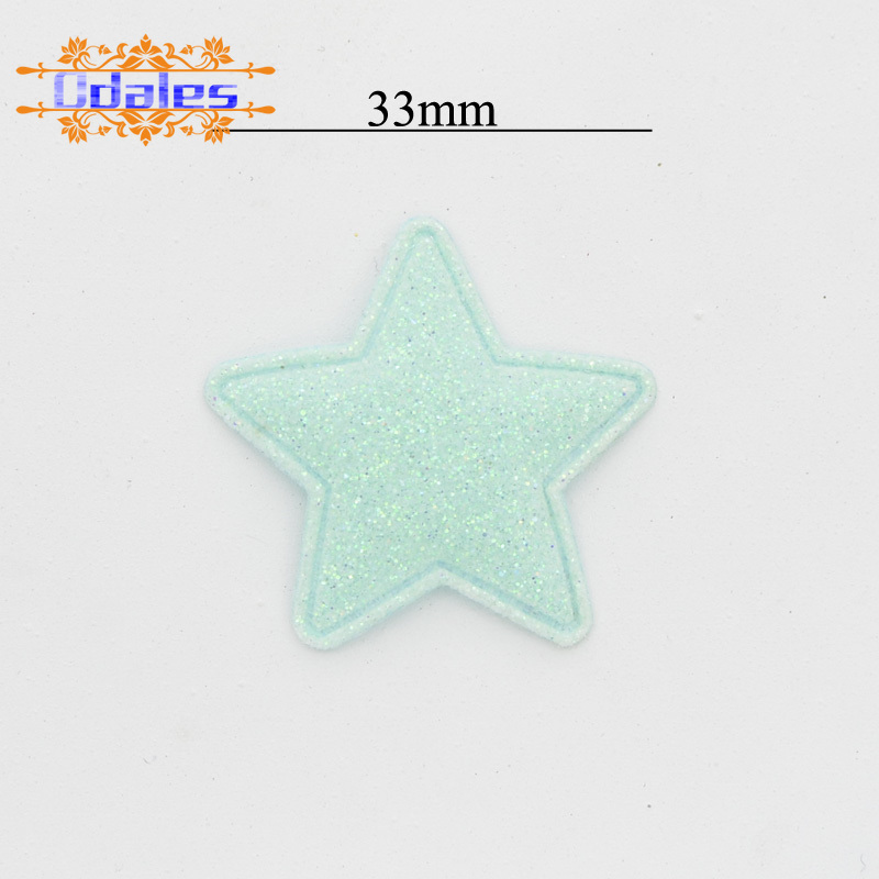80Pcs/lots Glitter Powder Star Padded Stick-on Appliques Ornament Sewing Patches Homemade Hairpin Headwear DIY Crafts Supplies