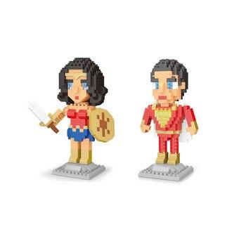 Bloques de construcción de superhéroes figuras de la Liga de la justicia bloque de micro diamante dc Shazam Mujer Maravilla capitán Marvel nanobicks Juguetes