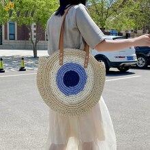 New Round Straw Bags Women Shopping Bag Bohemian Summer Handbag Travel Rattan Beach Handbags Female Fashion Straw Shoulder Bags