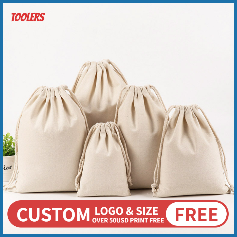 50pcs Cotton 8oz Canvas Drawstring Bag Eco Friendly Durable Draw String Packaging Bags Multipurpose Storage Pouch Custom Logo