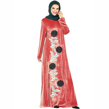 European and American large size dress robes women's embroidered dress Arab Muslim gold velvet prayer dress plus size arab embroidered open front blouse