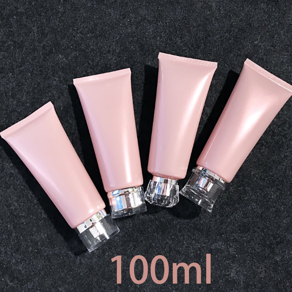Free Shipping 100ml Plastic Squeeze Bottle Pink Soft Tube Cosmetic Facial Lotion Cream Empty 30pcs