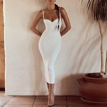 2020 Autumn new women's sexy V-neck backless hip strap Medium-length dress dress for women