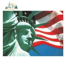 EARLFAMILY-pegatina impermeable de Estatua de la libertad de Estados Unidos, etiqueta de bandera para coche, accesorios de coche impermeables, 13cm x 9,7 cm