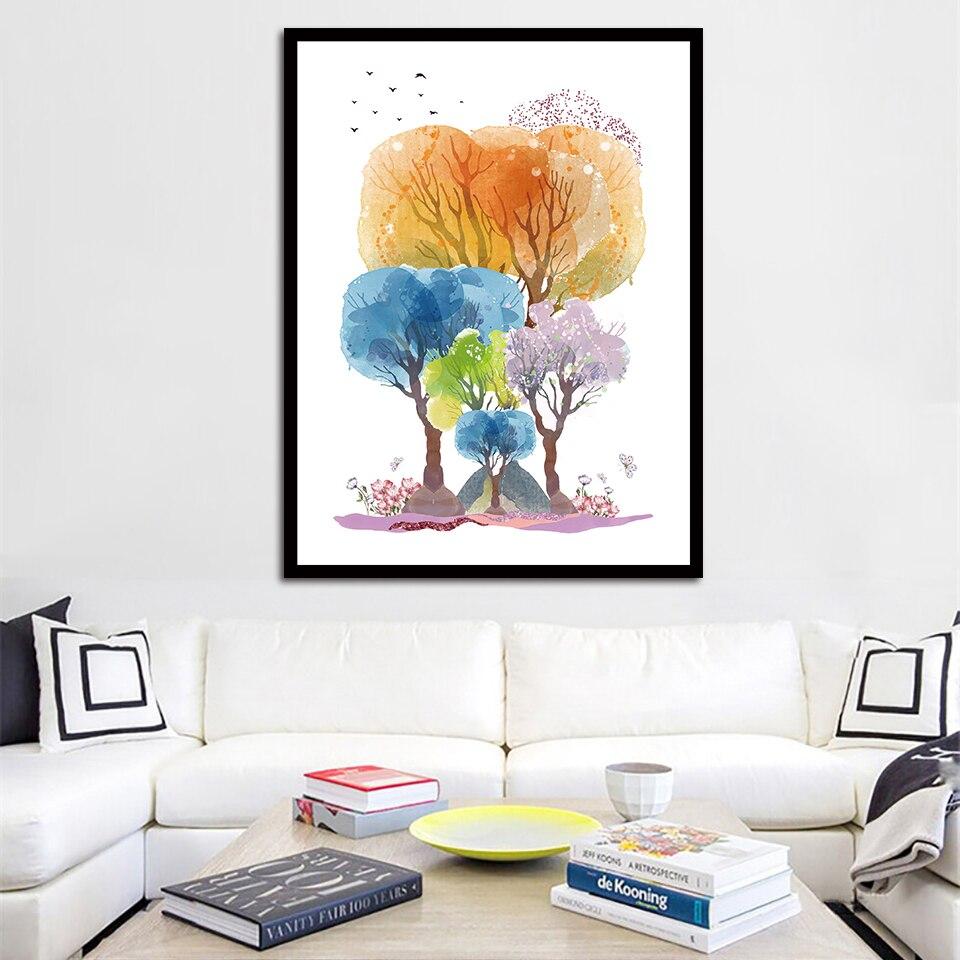 Абстрактные красочные Деревья Картина маслом скандинавские плакаты