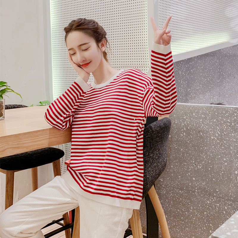 806# Autumn Fashion Knitted Maternity Nursing Sweaters Breastfeeding Bottoming Shirts for Pregnant Women Pregnancy Feeding Tops(China)