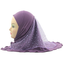 Muslim Girls Kids Hijab Islamic Scarf Shawls with Beautiful Lace Snow Pattern for 2 to 7 years old Girls Wholesale