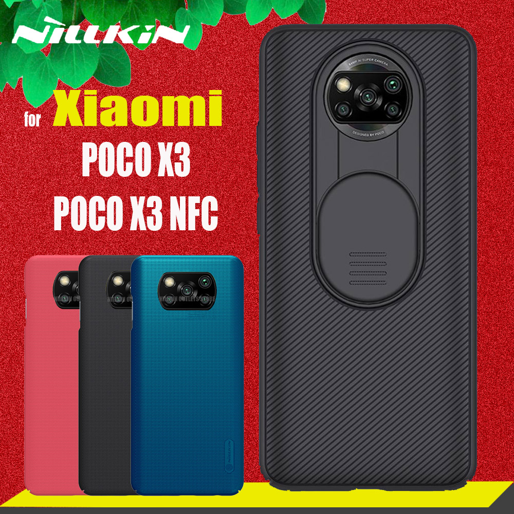for Xiaomi Poco X3 NFC Case Nillkin Slide Lens Camera Protect Frosted Shield Slim Cover for Xiaomi Poco X3 NFC Global Version(China)