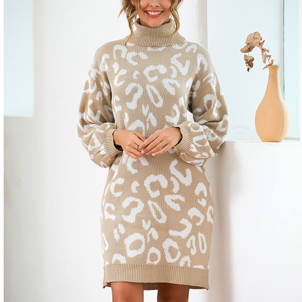 US $18.86 54% OFF Leopard Print Women Plus Size Sweater Dress Fall and  Winter Long Sleeved Turtleneck Pullover Dresses Soft Warm Knitwear Tops on  ...