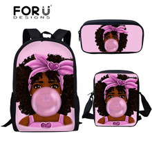 FORUDESIGNS Fashion 3pcs School Bag African Girls with Bubble Printing Student B