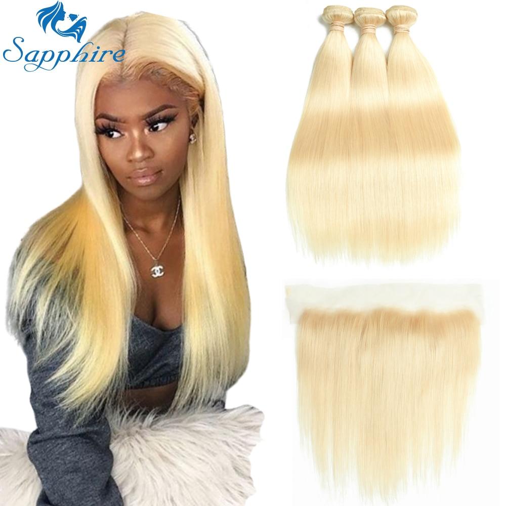 Sapphire Brazilian Hair Weave 613 Bundles With Frontal Brazilian Straight Hair Blonde Bundles With Closure Human Hair Extension