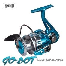 Kingdom carrete de pesca giratorio, arrastre de 12Kg 11 + 1BB 5,2: 1 2000/4000/6000 Series, resistente al agua, ligero para Lucio