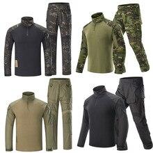 Airsoft calças de caça g3 combate camisa calças com almofadas camoping tático multicam forças caça camuflagem