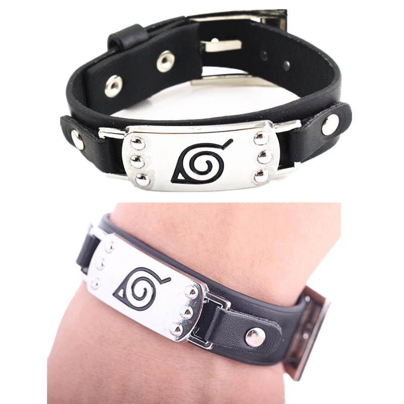 Anime Naruto Leaf Village Mark Badge Alloy Pu Leather Unisex Wristband Bracelet Cosplay Accessories Prop