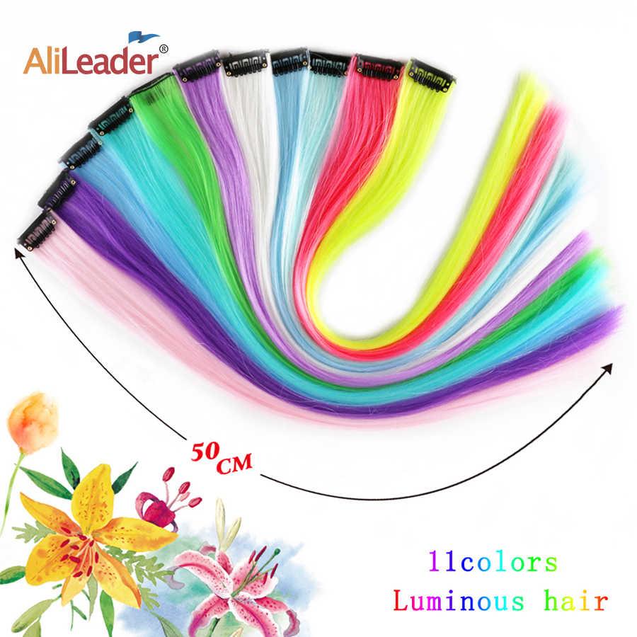 """Leeons الملونة تسليط الضوء على وصلات شعر اصطناعية كليب في قطعة واحدة شرائط اللون 20 """"طويل مستقيم هيربيسي لمحبي الرياضة"""